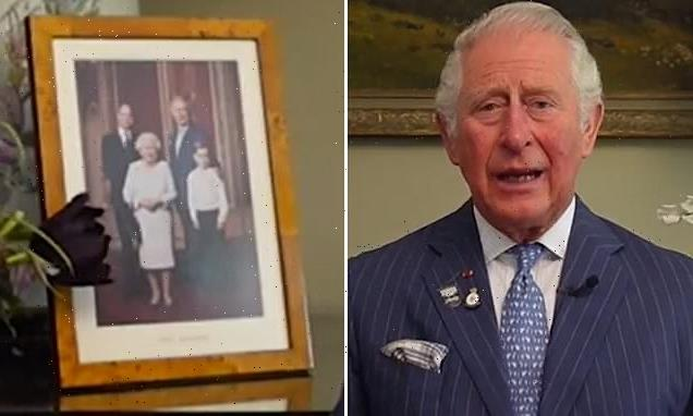 Prince Charles shares video message in front of photo without Harry