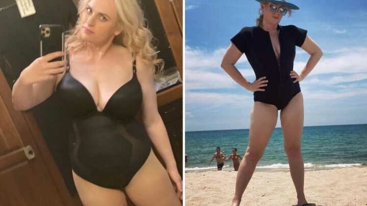 Rebel Wilson nearly slips out of plunging swimsuit after losing 60 pounds as actress says she wants to 'move to Florida'