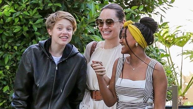 Shiloh Jolie-Pitt, 14, Rocks Dark Daisy Dukes With Angelina Jolie & Her 5 Siblings In JFK – See Pics
