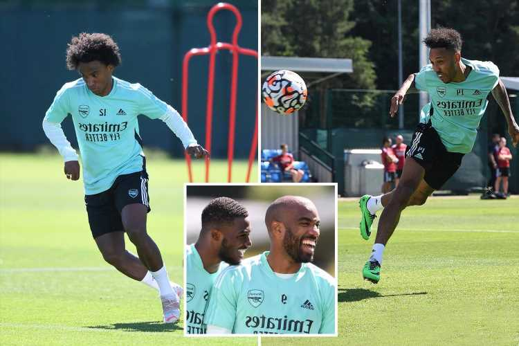 Arsenal stars including Aubameyang and Tierney back in training for Rangers game after miserable pre-season loss to Hibs
