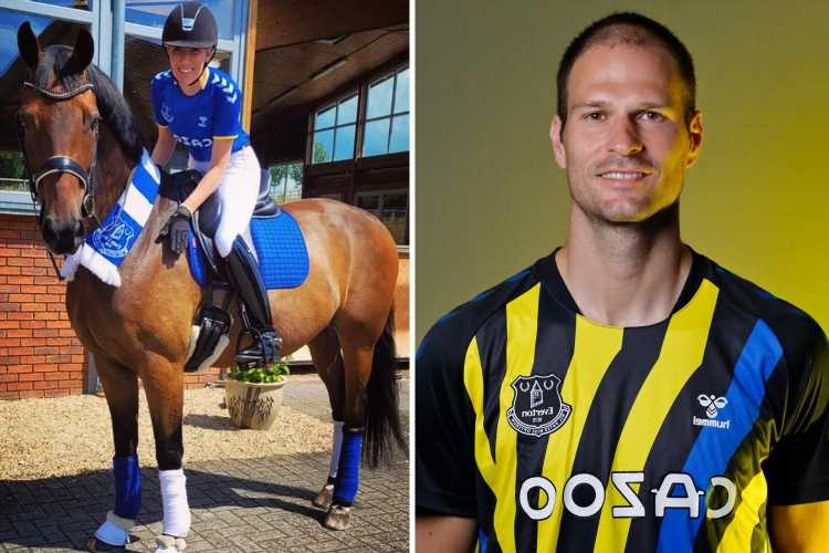 Asmir Begovic's wife Nicolle dresses in Everton kit and rides horse to announce husband's transfer move