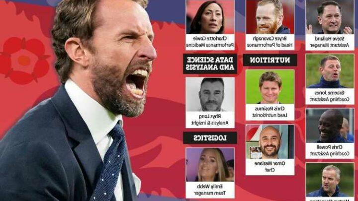 Gareth Southgate's backroom staff, from trusted assistant Steve Holland to Spice Girls' former chef Omar Mezine
