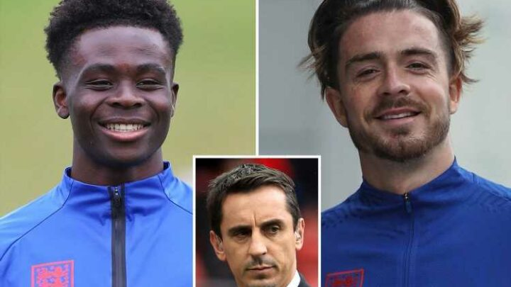Gary Neville picks his England Euro 2020 side to face Denmark in the semi-finals with Saka back in… but no Grealish