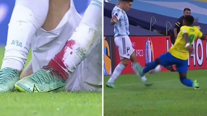 Man Utd star Fred lucky to avoid red card for horror tackle that leaves Argentina hardman Montiel with bloodied leg
