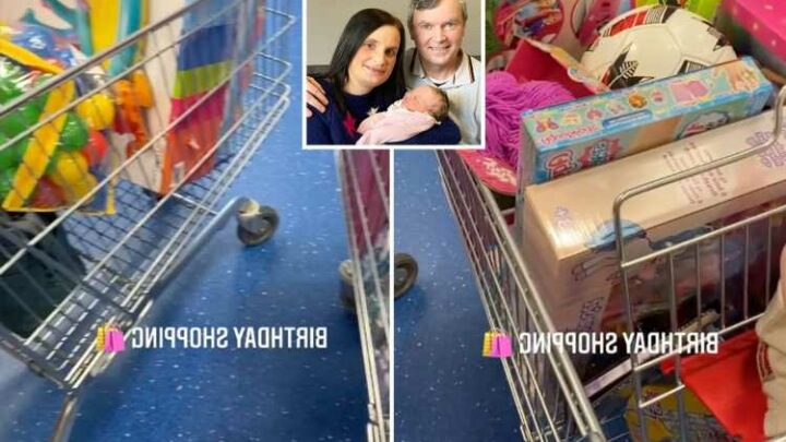 Mum-of-22 Sue Radford piles her trolley high with gifts as she prepares for yet another child's birthday