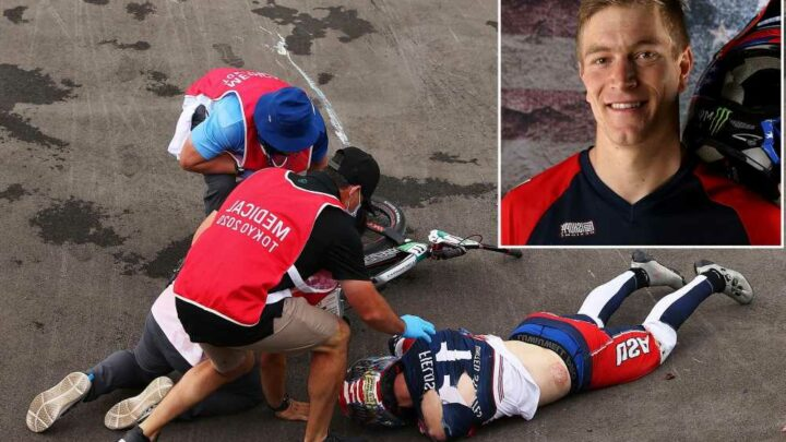Reigning BMX gold medalist Connor Fields stretchered off track after crash at Olympics