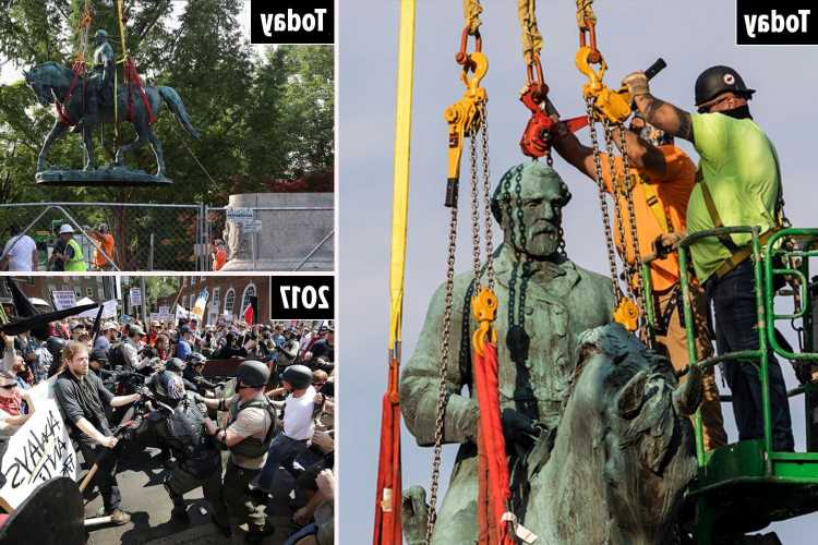 Robert E. Lee Confederate statue removed in Charlottesville four years after deadly Unite The Right rally in Virginia