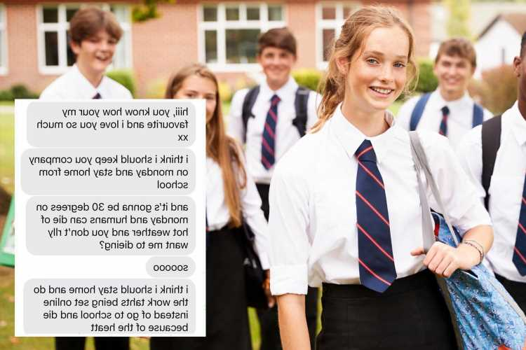 Schoolgirl sends people into hysterics with text saying why she can't go to class in heat – but mum won't fall for it