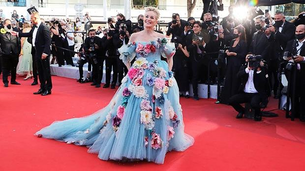 Sharon Stone Makes A Statement In Massive 3D Floral Tulle Gown At Cannes Film Festival – Photos
