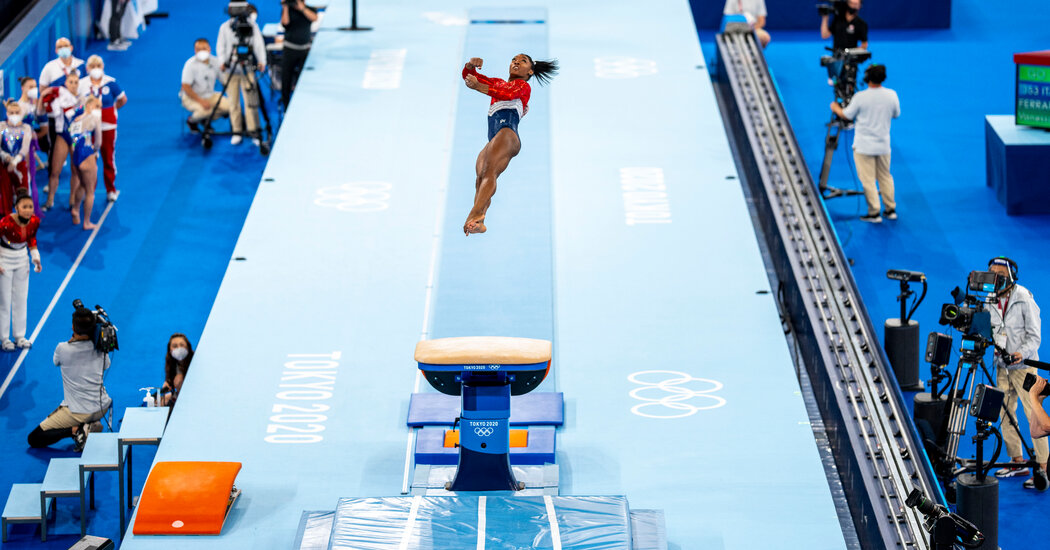 Simone Biles will not compete in the uneven bars or vault event finals.