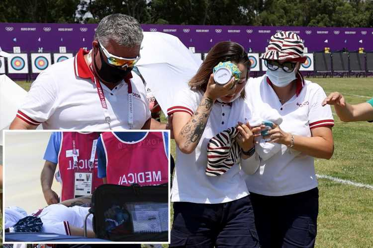 Tokyo 2020: Russian archer Svetlana Gomboeva COLLAPSES in blistering 33C heat and stretchered out of qualifying