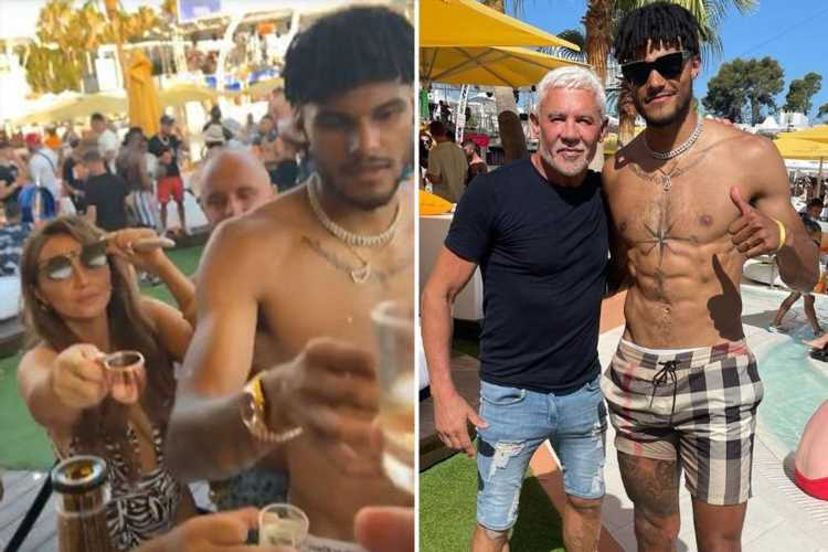 Topless Tyrone Mings relaxes in Ibiza with Wayne Lineker on well-earned holiday after England's heroic Euro 2020 run