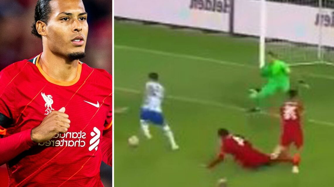 Watch Virgil van Dijk's embarrassing return to Liverpool as he is nutmegged by City flop and falls over before conceding