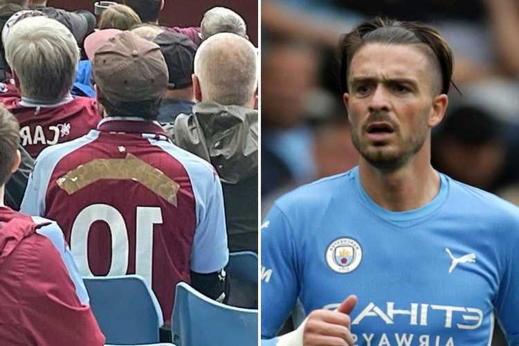 Aston Villa fan covers up Jack Grealish's name on his shirt with tape after his £100m transfer to Man City
