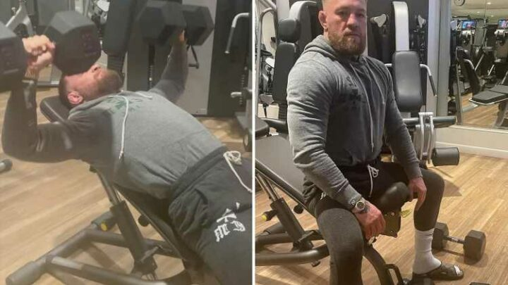 Conor McGregor shows off new look hair after trim as UFC star returns to gym after surgery on broken leg