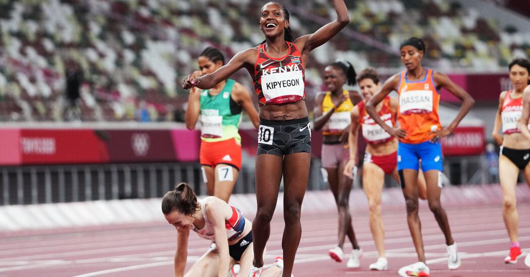 Faith Kipyegon of Kenya wins the 1,500 meters.