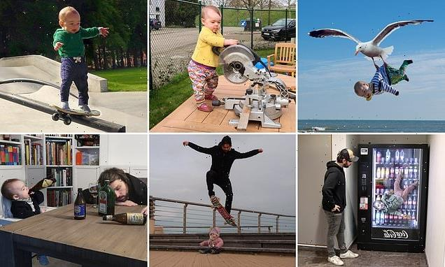Father photoshops his baby into hilarious dangerous situations