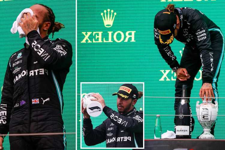 Lewis Hamilton struggles to stand up on podium as 'fatigued and dizzy' Brit fears long Covid after  Hungarian Grand Prix