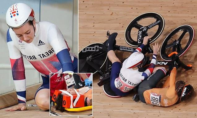 Marchant OUT of the women's keirin after collison with Van Riessen