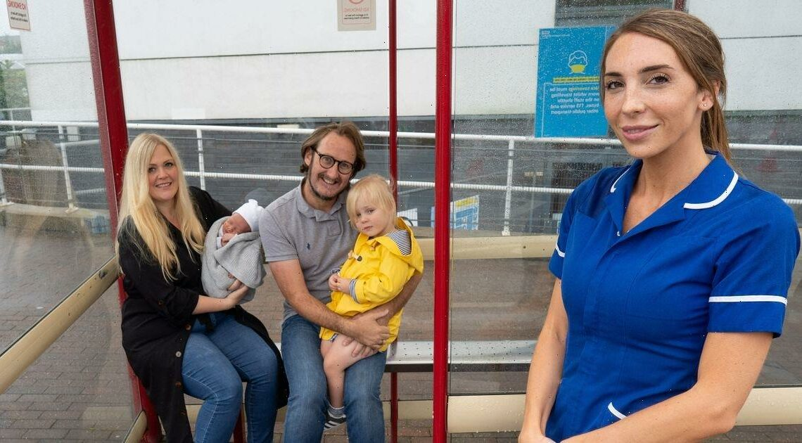Midwife going to work finds mum in labour at bus stop and helps her give birth