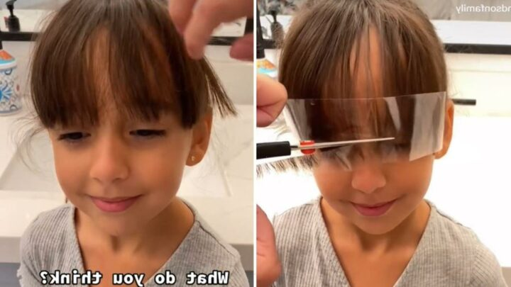 Mum shows her hack for cutting her daughter's fringe in seconds – and people don't know whether to love or loathe it