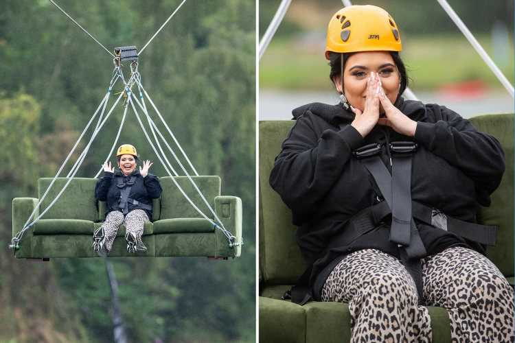 Scarlett Moffatt hurtles down a zipline on her SOFA as she became so 'attached' to it in lockdown
