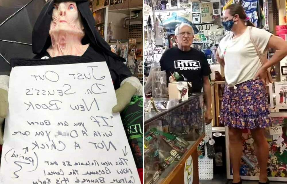 Store owner gets in heated exchange with transgender woman over offensive sign