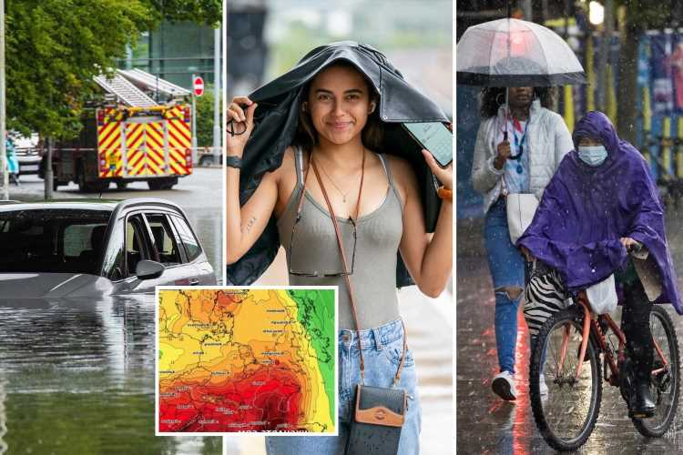 UK weather: Brits shelter from the rain as weekend brings hail and lightning – but August heatwave is on the way