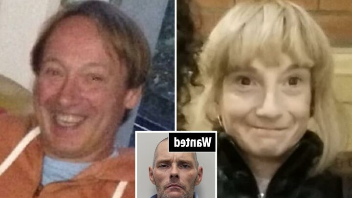 Woman, 45, and man, 59, died after their throats were slashed as cops warn public not to approach wanted man