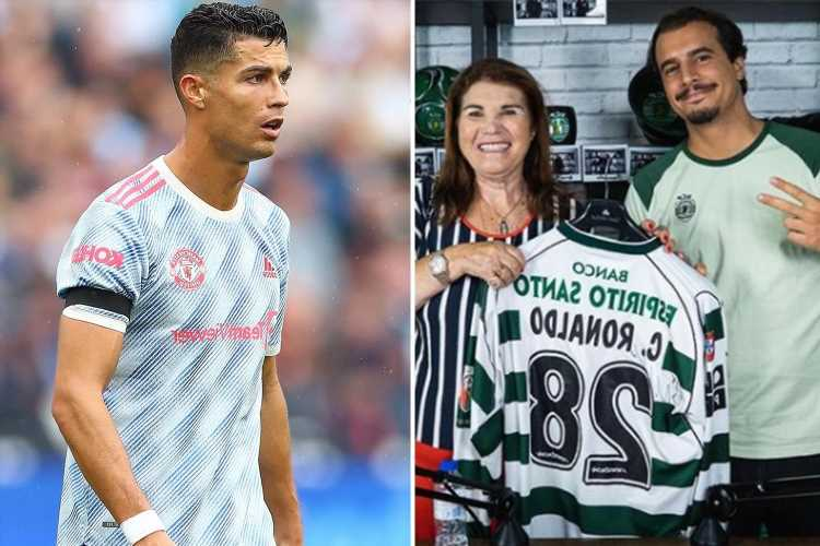 Cristiano Ronaldo's mum holds Sporting shirt with his name on it after begging Man Utd star to make transfer return