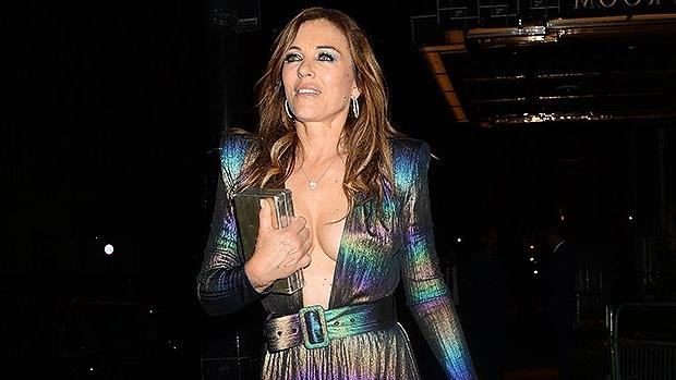 Elizabeth Hurley Looks Fierce In Plunging Gown To Her Waist For Birthday Party In London – Photos