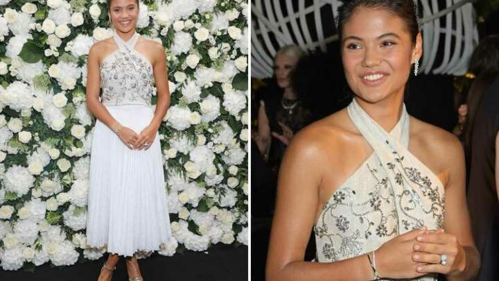 Emma Raducanu, 18, beams in elegant white crop top and skirt at London Fashion Week after making history at US Open