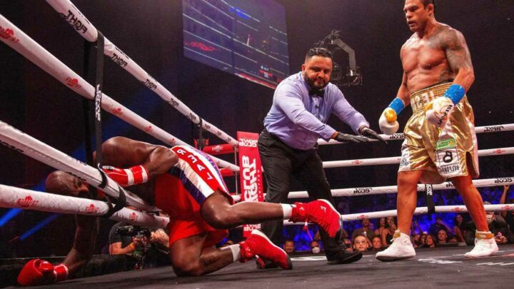 Evander Holyfield, 58, beaten in round one by ex-UFC champion Vitor Belfort in front of former US president Donald Trump