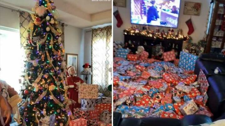 Family savaged for Christmas present reveal video which shows so many gifts there's no room to move