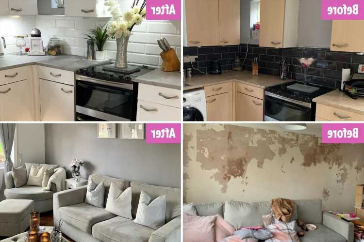 I transformed my drab, woodchip rental into a stunning grey home on a shoestring budget and this is how…