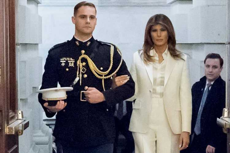 Melania Trump 'began to appear with handsome military man after news of Don's Stormy Daniels affair broke,' claim says