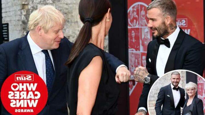 The Sun's Who Cares Wins Awards – David Beckham fist-bumps Boris Johnson as he arrives with mum at star-studded bash