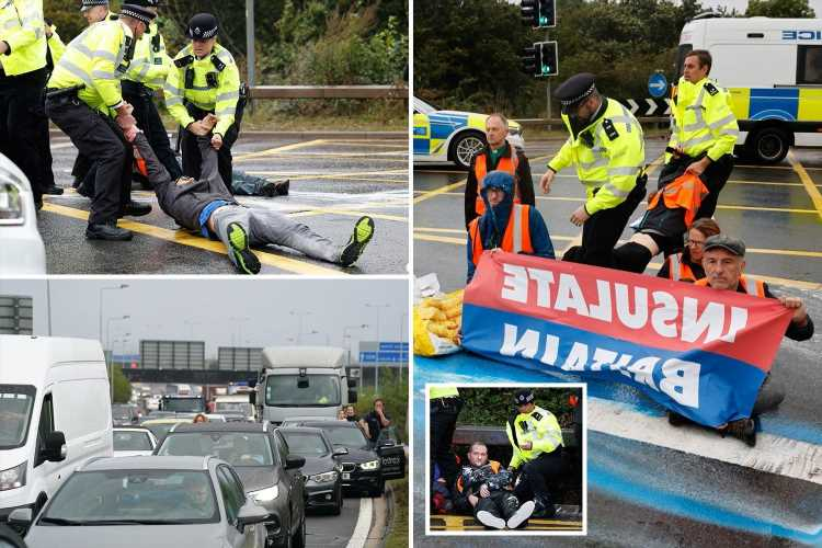 Traffic chaos as Insulate Britain eco-maniacs protest at busy M25 AGAIN near Heathrow Airport