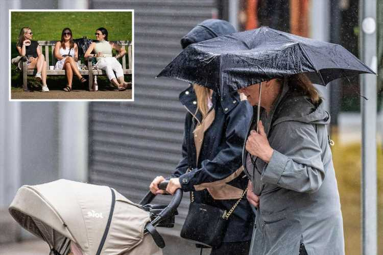 UK weather: Heavy rain to batter Britain tomorrow before temperatures soar to balmy 22C this week