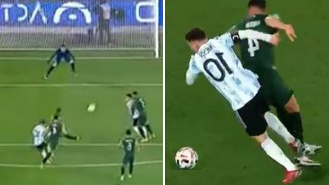 Watch Lionel Messi's 'insane' goal for Argentina as he nutmegs defender with ease before finding top corner