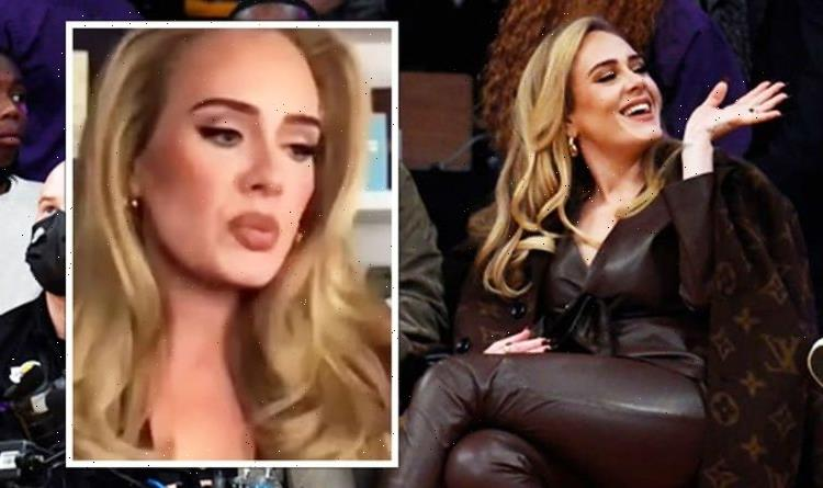Adele stuns in skintight leather outfit in rare pic with boyfriend at Lakers game