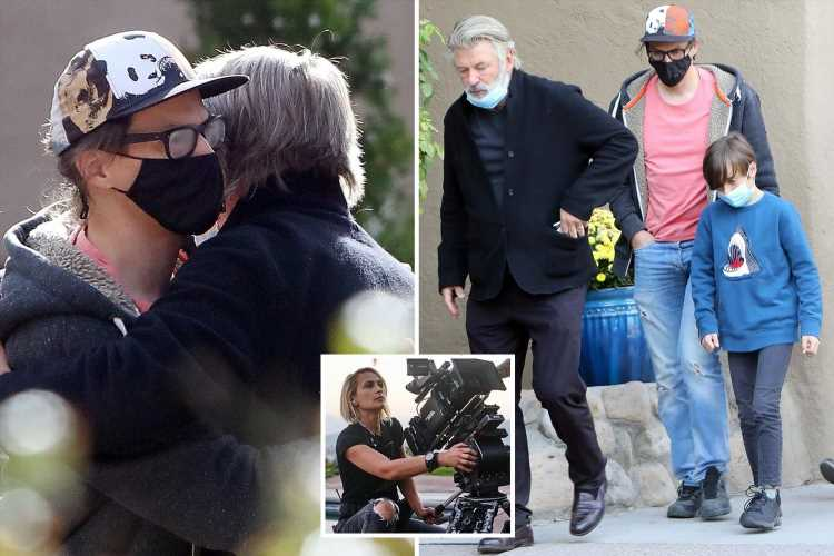 Alec Baldwin hugs Halyna Hutchins' husband & son, 9, after accidentally killing crew member with prop gun