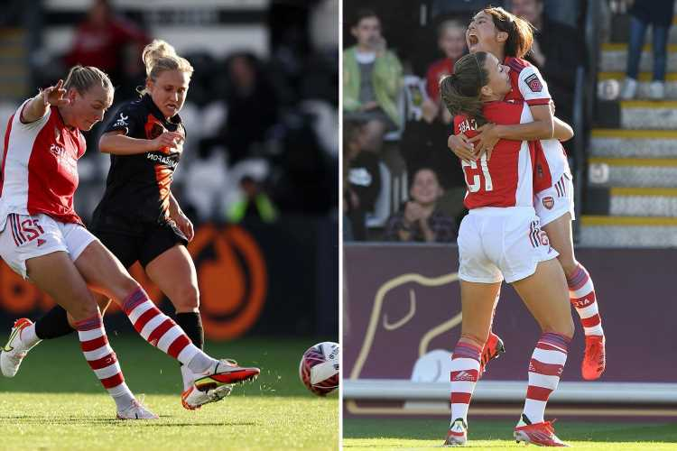 Arsenal 3 Everton 0 Maanum and McCabe hit wonder strikes as Gunners move three points clear of Tottenham