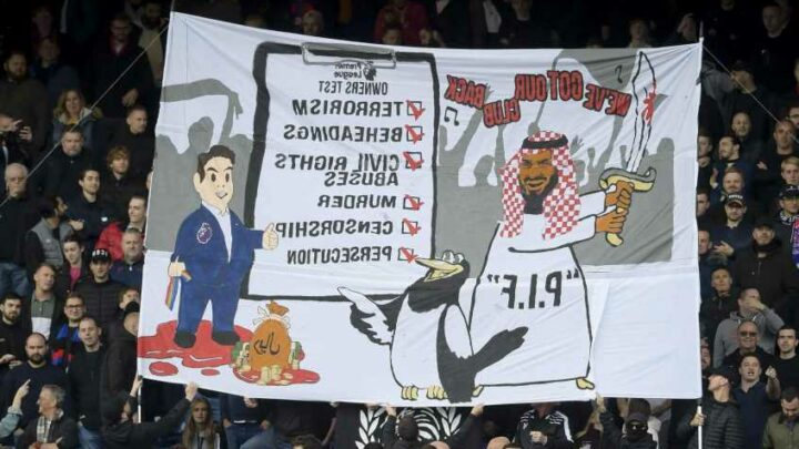 Crystal Palace unfurl gory banner in protest of Newcastle's Saudi owners following 'serious human rights breaches'