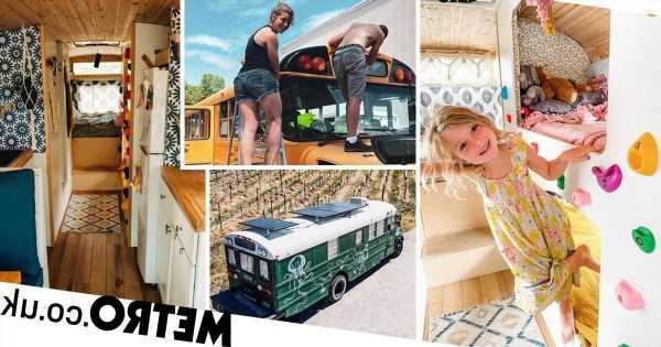 Family transform old school bus into dream three-bed motor home