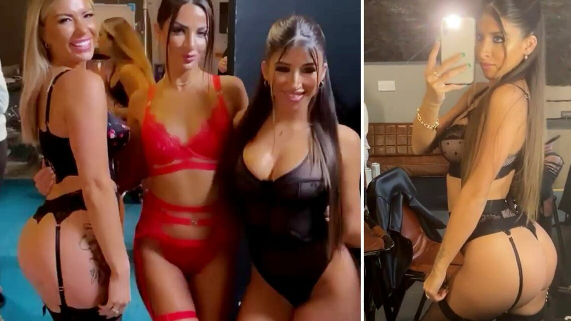 Love Island's Olivia Bowen and Shannon Singh stun in lace thong underwear in backstage snap with Sophia Peschisolido
