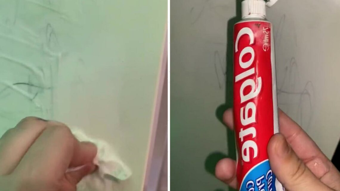 Mum uses TOOTHPASTE to make her white walls spotless after her toddler draws all over them