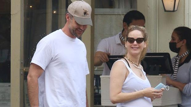 Pregnant Jennifer Lawrence Sweetly PDAs With Husband Cooke Maroney In A White Tank Top – Photos