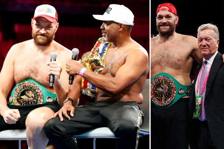 Tyson Fury and SugarHill Steward TOPLESS with belts in post-fight presser as Warren lauds 'best bout he's EVER seen'